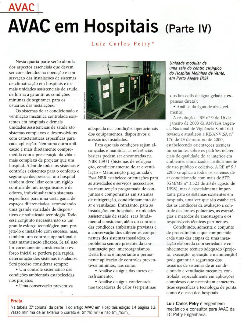 AVAC em Hospitais (Parte 4)